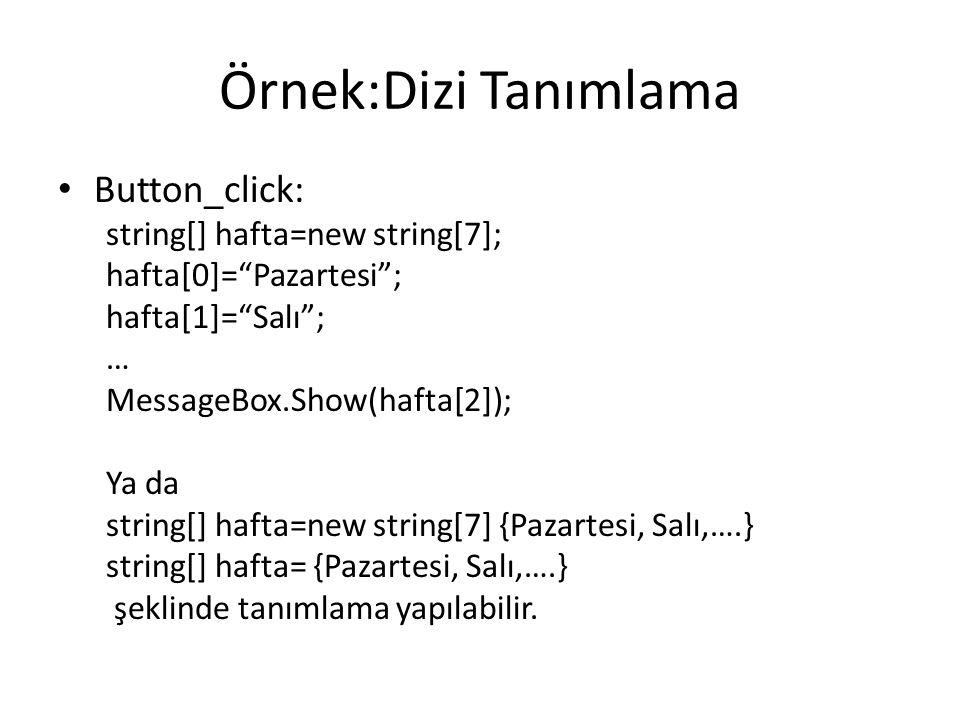 Örnek:Dizi Tanımlama Button_click: string[] hafta=new string[7];
